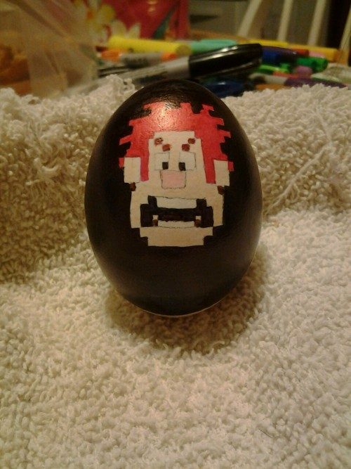 Some more egg art.. Wreck-it Ralph. :D (SORRY IT'S NOT THAT GREAT, BUT I TRIED. A FOR EFFORT.)