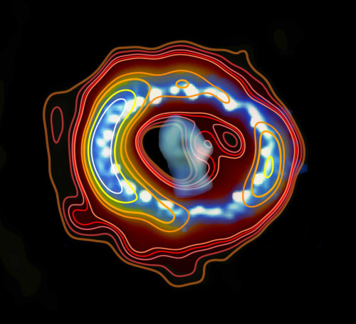 christinetheastrophysicist:  Supernova remnant 1987A continues to reveal its secrets In February of 1987 astronomers observing the Large Magellanic Cloud, a nearby dwarf galaxy, noticed the sudden appearance of what looked like a new star. In fact they weren't watching the beginnings of a star but the end of one and the brightest supernova seen from Earth in the four centuries since the telescope was invented. By the next morning news of the discovery had spread across the globe and southern hemisphere stargazers began watching the aftermath of this enormous stellar explosion, known as a supernova. In the two and a half decades since then, the remnant of Supernova 1987A has continued to be a focus for researchers around the world, providing a wealth of information about one of the Universe's most extreme events. Read More.  Arte y ciencia.