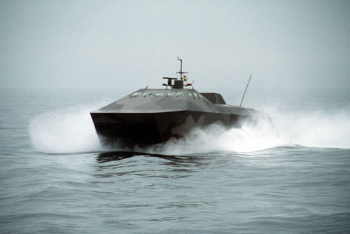 HMS Smyge, an experimental stealth ship for the Swedish Navy. Launched in 1991.