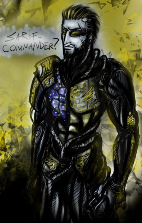 ukenceto:  .:.Sarif-Commander?.:._____________________ So this came up in a chat with friend long ago-, and I finally got the desire to draw it XD Adam Jensen from DeusEx:HumanRevolution as Legion from Mass Effect.
