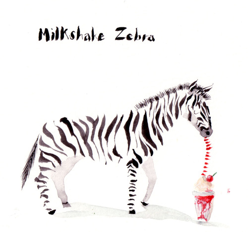 Zebra with a milkshake. I drew this for my friends birthday.