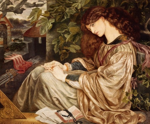 pre-raphaelisme:  Pia de' Tolomei by Dante Gabriel Rossetti This work was painted at the start of Rossetti's affair with Jane Morris, who modelled for the picture. As he was to do with Beata Beatrix (1870), Rossetti chose a tale from Dante (from Purgatorio) to illustrate his love for his model. The story tells of a woman whose husband imprisoned and later poisoned her: Rossetti wanted the world to believe the fantasy with which he was deluding himself - that William Morris kept Jane against her will. He continued this theme, as shown in Proserpine.  Rossetti not only drew Jane exhaustively, he also choreographed photographic sessions of her and used the photographs as preliminary sketches for drawings. Amongst other representations of her, Rossetti depicts Jane as Proserpine, Queen Guinevere and Desdemona - all of whom were at the mercy of men.  Jane appears disproportionately large in most of Rossetti's pictures. The background is immaterial as long as the viewer focuses on the beauty of her face. In Pia de' Tolomei her neck seems almost dislocated, it is so strangely elongated and the whiteness of her skin shines out, defying the viewer to pay attention to any other aspect of the painting. Strangely, Jane's hair colour is misrepresented here. Her natural colour was dark brown, yet Rossetti paints it with an auburn tinge - closer to Lizzie Siddal's hair colour than Jane's. Also, her hands are twisted and intertwined in a peculiar way. (cr: wikipedia)