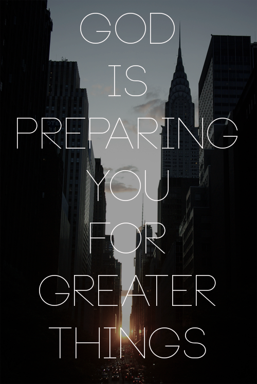 "spiritualinspiration:  Oftentimes, God will use our experiences in life as stepping stones to prepare us for what He has in store next. Scripture tells us that He'll even take the things the enemy tries to bring against us and turn them around and use them for our good. He is always leading us on a journey of preparation. That's why it's so important to keep our eyes focused on Him. We have to trust that when we are submitted to Him—even if we don't understand—He is ordering our steps. If something is not happening on your timetable, remind yourself, ""God knows what He is doing. He has my best interest at heart. God is preparing me."" While you're waiting, don't make the mistake of trying to figure everything out. If you're constantly trying to figure things out, that will only frustrate you. Turn it over to God. Declare, ""God, my times are in Your hands. I'm not going to worry because I trust that You are leading me on a journey of preparation for all the wonderful blessings You have in store for me."""