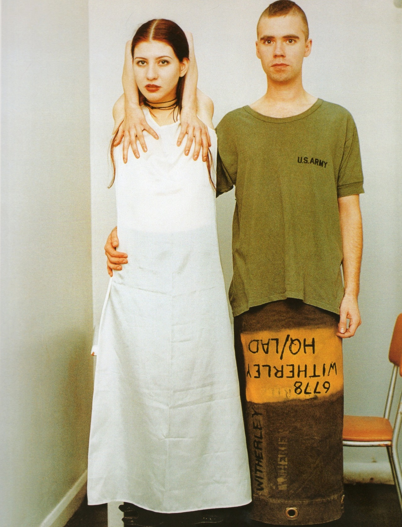 "bosconos:  ""Suzanne & Lutz, white dress, army skirt"" 1993, by Wolfgang Tillmans"