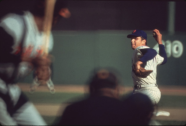 Mets hurler Tom Seaver delivers a pitch during the 1969 World Series against Baltimore. (Walter Iooss Jr./SI)