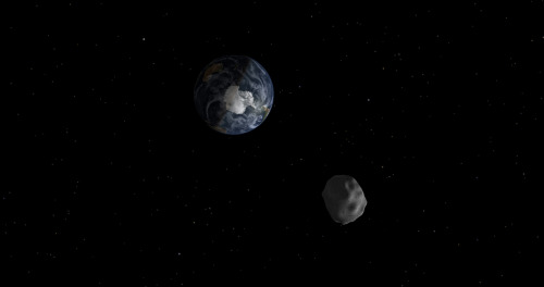 Asteroid to make close approach to Earth next week Space.com: An asteroid half the size of a football field will make a close approach to Earth next week, but poses no threat of crashing into our planet, NASA officials say.Asteroid 2012 DA14's close encounter is a record-breaking celestial event, according to Don Yeomans, the head of NASA's asteroid-tracking program. An object this large only passes this close to the Earth about once every 40 years, and likely only hits the planet once every 1,200 years, Yeomans says.Photo: A diagram depicting the passage of asteroid 2012 DA14 through the Earth-moon system on Feb. 15, 2013. (Image credit: NASA/JPL-Caltech)