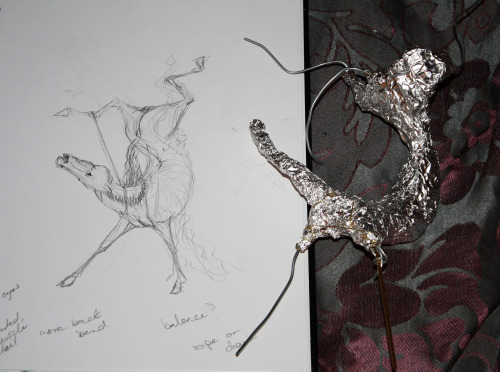 So I had this sketch sitting around and finally made the armature. I was originally going to make this to sell but it's quite large and I'm always hesitant to post this type of art online, let alone put it up for sale. So we'll see.  It's become this weird thing, I do quite a bit of macabre/ horror type artwork, both in drawing and sculpture, and end up keeping them and never showing them to anyone because I assume people will think they're gross and unfollow me or whatever.I don't think there's too many people who, like me, love adorable fantasy stuff and also really disgusting shock gore. It's likely I'll start posting a couple things on deviantart because you can mature tag things there. I've got 3 finished sculptures, some from a couple years ago, that I would like to post, and a few others including this one in the works.  So anyway, there might not be more photos of this one on tumblr. I don't know! xD
