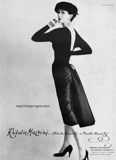 myvintagevogue:  Dovima wearing a dress by Roselie MaCrini & hat by Dior 1956 Photo by Maria Martel