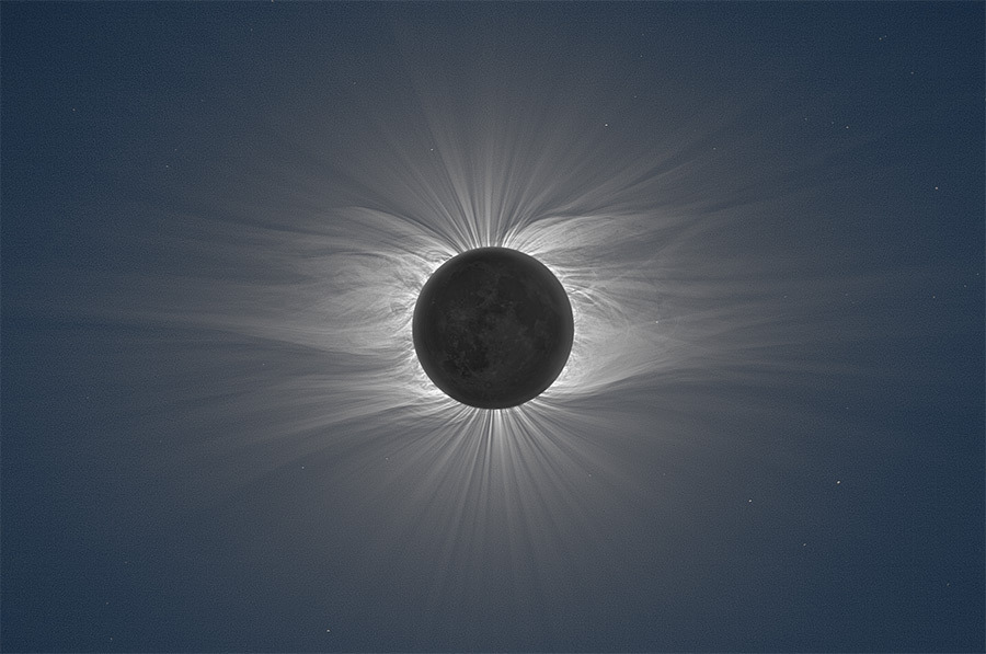 "jtotheizzoe:  Threading the Corona Top: The magnetic filaments of the sun's corona, captured at top by Miloslav Druckmüller in a composite of 38 different images during a solar eclipse. You'll want to see the super-huge version here, trust me. It will change you. Bottom: ""Coronal rain"" captured by NASA's SDO satellite. The superheated coronal plasma is seen traveling along magnetic field lines during a coronal mass ejection.  The corona cooks at over a million degrees Kelvin compared to the relatively frigid 5800 K of the photosphere below it. Exactly why this plasma is so superheated isn't completely known, but it might be subject to the same kind of magnetic induction as an electric generator. Whatever the cause, the normally invisible lines of the sun's magnetic field are drawn in brilliant form within the corona, and charged plasma is the paint. You can get a good look at the solar corona today (right NOW for those catching this post live at 5:30 PM ET on May 9th) during today's annular eclipse, being broadcast live from the South Pacific by the Slooh Space Camera. (top image via Colossal)"