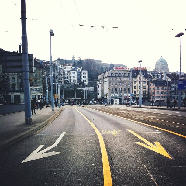Had a super quick stop in #downtown #zurich. The #street was packed with people headed to the #train station to go skiing for the weekend.   I need to come back to this #city to explore more!