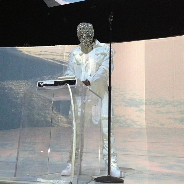 Kanye West in the couture Maison Martin Margiela crystal mask this evening (December 28th) at Revel in Atlantic City.