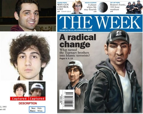 "brofiling:  white privilege radically changes the appearance of Tsarnaev bros This is how brofiling actually works in real life. The Week Magazine ran with this image as their cover sketch. Just so it is said, clearly and unambiguously: the Tsarnaev brothers are white guys. They are white. The FBI's own wanted poster for Dzhokhar Tsarnaev lists his race as ""white"", but you would never know it from the cover image on The Week. Hold up the cover to someone else, and ask them how many white people they can see on the cover. Chances are they will identify Gabby Giffords on the top left and the image of the Boston policemen (all white men) on the top right, but how about those two guys in the center? Nope, not a chance that anyone would say these caricatures look white. Why? Because in addition to being white they are also ""Muslim"", which is the current dehumanizing ""Other"" label that whiteness has constructed as a sanctioned target for violence in US popular culture. This is how white privilege works in media representations and everyday life: when the criminal suspects are demonstrably white men, seize upon any aspect of difference and magnify it such that they become Othered, non-white, and menacing. If it is too hard to do so, simply dismiss them as aberrations and isolated cases of insanity. This is also how white culture, specifically the process of whiteness in conjunction with white privilege, portrays several non-white identities, including those that are now considered white but at one time were decidedly not so. For example, see here for how the Irish were depicted as violent apes or lazy drunks in the late 1800s to early 1900s. Addendum, posted 4.29.13: As Tim Wise said on April 18, there are consequences for these kinds of things. Here are a few reasons why this is important: Making white criminals who are Muslim appear to be more 'brown' than 'white' has serious consequences for brown people. Indeed, as we saw right after the Boston bombings, people that simply ""looked"" brown and Muslim were profiled and assaulted. Two men were escorted off a plane in Boston simply for speaking Arabic and thereby somehow making passengers ""uncomfortable"". A Bangladeshi man in NYC was beaten up because he looked 'Arab'. And this affects women too: a Muslim woman doctor in Boston who wears a headscarf was attacked by a man while she was out walking with her baby. And the white Muslim wife of the older brother has been demonized for simply being a Muslim American woman, especially after Ann Coulter called for women who wear hijabs to be arrested. People have pointed out to me that The Week Magazine's cover images are regularly caricatures/sketches of the main events of that week's news. I know this—I read their print edition every week, and all their previous cover images are available online. But there are two main problems with this argument: (a) why caricature them in a way that makes them so explicitly 'darker' and 'Arabized' in their appearance? Contrast the way they look on that page with the other white faces on that same page—would anyone say that these men look 'white'? So why is the caricature done in such a 'racializing' way? How is this any different from the more overt media racism that was used by Time Magazine (h/t @sarahkendzior), for example, to make OJ Simpson appear way more menacing? And (b) if The Week is simply trying to put a caricature of criminals who committed mass violence on their cover, then here are the covers for the weeks when Newtown happened, when Aurora happened, and when Tucson happened — where were their 'racialized' caricatures of Adam Lanza, James Holmes, and Jared Loughner? How come the ideologies and ethnicities and religions of those particular mass criminals were not profiled? And so here is the more subtle consequence: when white criminals are treated as if they are just aberrations, and when white criminals who are Muslim are portrayed as more brown than white not just by The Week but by mainstream propaganda outlets like Fox News, then the problems of white supremacist violence and extremism become hidden, unaddressed. When analyzed carefully, research has shown that right-wing extremism causes more deaths in America than ""jihadist"" groups. Also, of the terror attacks/plots since 1995 in America, 56% of them were by right-wing extremists and only 12% by Islamist/jihadist groups — and yet the DHS was told to back off reporting on that or on analyzing right-wing violence for fears of backlash from conservative political groups. So, my main point is that such a deliberate ignorance hurts ALL people."