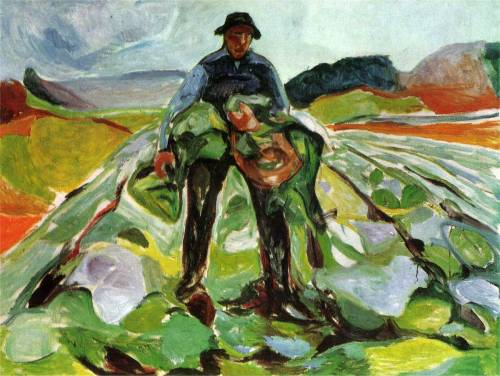 nataliakoptseva:  The man in the field of cabbage Edvard Munch 1916