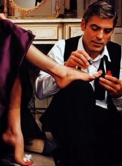 longingforlovely:  Mmm. George Clooney, ladies and gentlemen! I personally refer to him as Georgie. I swear he looks better with age. One of the few men who can actually do that. Christina Bale is another. I think Richard Gere makes the cut as well. Tip to all of you in Tumblr world: If a man offers to paint your toenails, he's probably a keeper.
