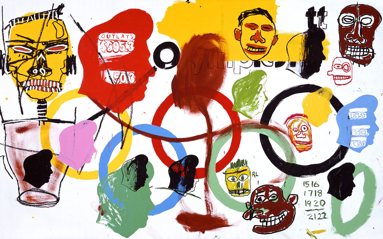 billy-blue:  Olympics, 1984 Acrylic on Canvas Andy Warhol & Jean-Michel Basquiat