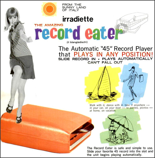 savetheflower-1967:  The Record Eater '45 rpm' record player ad, 1967.