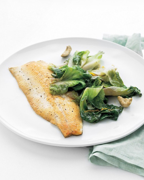 notanotherhealthyfoodblog:  Trout with Escarole, Orange, and Olives  click here for recipe