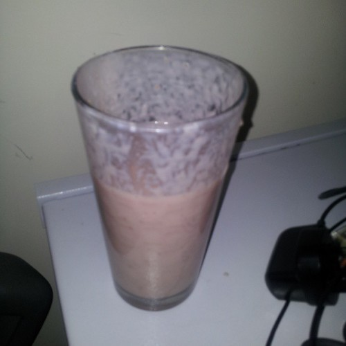 Banana and strawberry milkshake @elle_cee_leggz @niksbixx @missshax Im getting better at this #healthy #fruits #milkshake #homemade #fiveaday #instahub