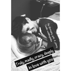 "cuddlingdallas:  •inspired by ""Truly, madly, deeply."" , by One Direction•  This morning I woke up completely intertwined with her like twigs caught on a vine. Her eyes closed still in a deep slumber. Her chest rising up and down with each breathe she took. It felt so surreal lying here like this with her. A couple years ago this was all just a fantasy in my head. Now it's a beautiful reality that I would never trade for anything in the world. Honestly I never knew why (y/n) chose me out of all the boys she could've had. Boys were putty in her hands she could've had any of them wrapped around her finger in a spilt second like she had me. I was nothing special I was just the under dog who had finally got the girl.I remember the day she asked me out vividly as if it had just happened yesterday. That was best day of my being. Knowing that she was mine . That the girl I wanted so desperately actually wanted me was the best feeling. If I could I would freeze that moment in a frame . Id put that day back on replay and just keep reliving it.  Today I was ready . Ready to ask her to spend eternity with me.i had bought the ring that was in my nightstand about a week ago. The thing was I had a problem. I couldn't just ask because well I wasn't sure how to honestly. Should I put coffee and granola on a tray in bed , and wake her up with all the words I still haven't said with tender touches just to show her how I feel. Or should I act cool like its no big deal.I looked back down at (y/n) with a sigh. I brushed my teeth and freshened up a bit before reaching into my night stand and pulling out the ring.I walked over to her side of the bed. I took a seat on the wood floor. I sat there just taking in her beauty in all she is. Her hair was sprawled out all over the pillow. Knees now some what tucked into her chest. Her pouty pink lips they looked so soft and kissable. I had fallen foolishly completely in love with (y/n). She was beautiful I wanted nothing more then of spend the rest of my life with her. I was afraid though. Afraid of rejection. That she may not be ready even though we had been together for 2 years. I didn't want to just be another boy she had in the plan of her hands though . I wanted to be the one she woke up to every morning happily . I wanted to be the one who was all was by her side through thick and thin. I didn't want to have to see her get up and leave. Because the tragic truth waning she didn't feel the same my heart would break If someone ever said (y/n)'s name. She was the one who had kicked in my walls and I was desperately hoping she was here to say. I glanced at her letting out a sigh before getting up from the floor. I crouched down on one knee net her bed side . A delicate kiss was pressed to her nose . She scrunched her nose as a soft smile danced upon her lips. Eyes still closed I opened the small box containing the ring . I held it open as her (y/e/c)s fluttered open slowly. Her eyes widened once she realized what I was holding. I inhaled a deep breathe before speaking.  ""(Y/n) , will you marry me.""  I held my breathe watching her waiting for a response. Her eyes shifted between me and the ring. I began to grow nervous. All my worries crowding my mind at once .  ""Yes , Johnny yes."" She said tears of joy in her eyes with a wide grin on her face. She perched her self up onto her elbows before sliding the ring on to her thin pale finger. She threw herself into my arms hugging me as if her life depended on it. I wrapped my arms around her Fran hugging her back never wanting I let go. Glad that she would always keep me. In that moment I knew that I was truly , madly , deeply in love with (y/n).  cute story"