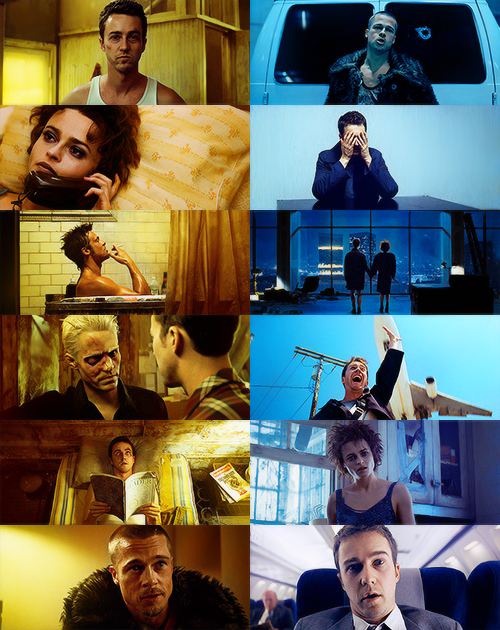 fight club | yellow & blue