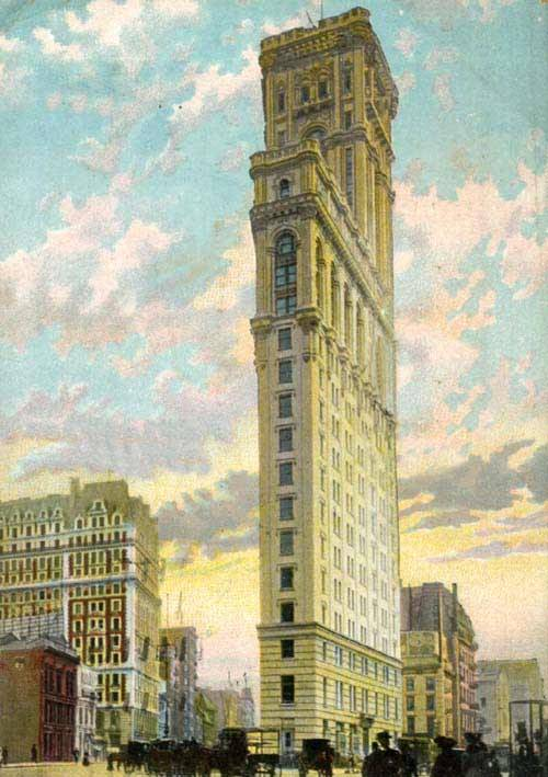 The Times Tower, back before it became a gigantic stand for billboards. Via Lileks