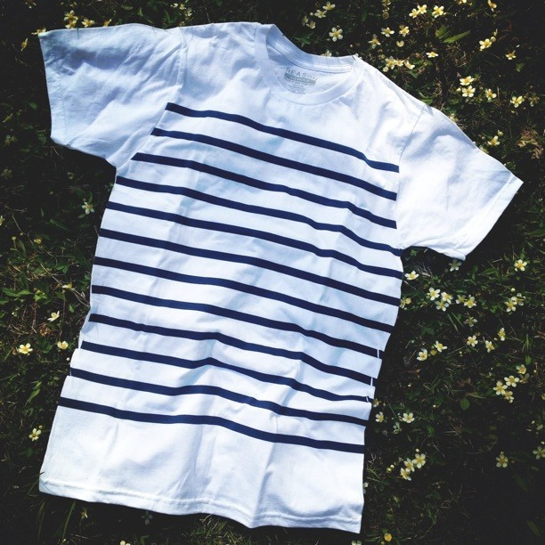 Our new Nautical Stripe tee is the sleeper hit in the collection this season. Available online and at Reason NY. ⚓🇺🇸🎩 (at www.reasonclothing.com)