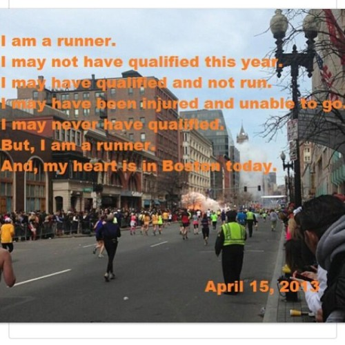 fortyishathlete:  God bless Boston today… #running #bostonmarathon   Prayers.