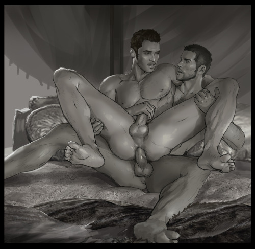 andrewartwork:I started this during kaidan porn week but never finished because of work/general laziness.  In any case here's some sexy crossover mshenko with a bit of Iron Bull and Dorian for good measure.