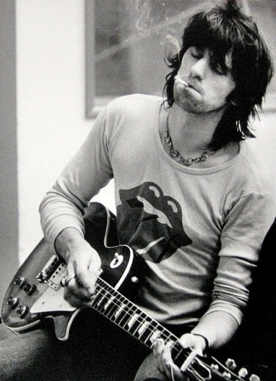 rocknrollhighskool:  The Rolling Stones Keith Richards in the studio and you will never believe this, but he is smoking!