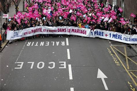 breakingnews:  French National Assembly approves same-sex marriage Reuters: France's lower house of parliament approved a bill allowing same-sex couples to marry on Tuesday. The legislation will now move to France's Senate on April 2. The bill has been staunchly opposed by the majority Catholic country's social conservatives, French Muslims and evangelical Christians. If the reform is backed, France will join 11 other countries in the world that also allow same-sex marriage. Photo: Thousands of demonstrators march in Paris, to protest France's planned legalization of same-sex marriage, January 13, 2013. (Charles Platiau/Reuters)