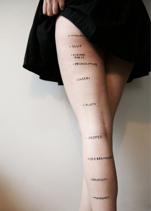 laughingsquid:  Judgments, Provocative Photo Shows Skirt-Length Decency Levels on a Woman's Leg  You'll find me between cheeky and flirty.