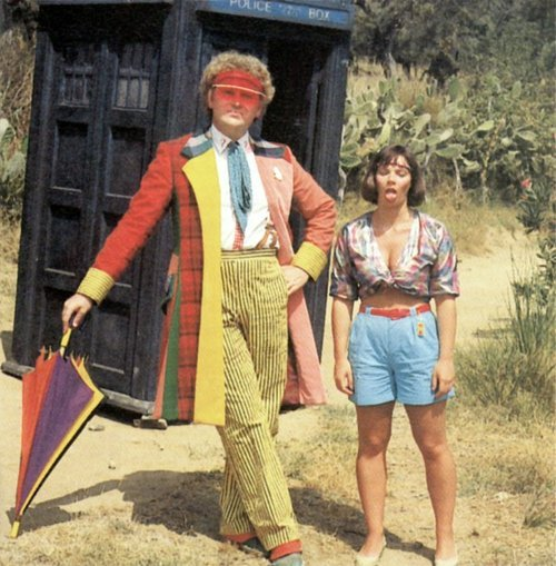 lostthehat:  This picture is one of my favorite Doctor Who related pictures because I feel it very nicely summarizes them both: dubious fashion choices that are exploding with color and attitude expressed in ridiculous ways.