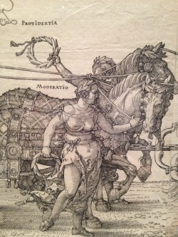 Here's a close-up I took of an Albrecht Duerer woodcut that we saw at the MFA this past weekend. I adore the detail, and the energy of the horses especially!