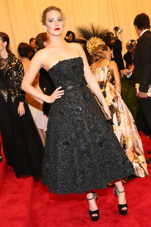 womensweardaily:   Jennifer Lawrence in Dior at the Met Gala Photo by Evan Falk