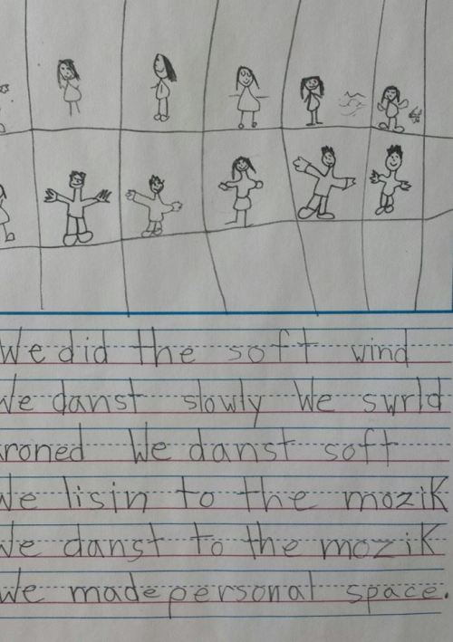 wnyc:  Happy National Poetry Month from this first grader: We did the soft wind.We danst slowly. We swrld aroned.We danst soft.We lisin to the mozik.We danst to the mozik.We made personal space. via