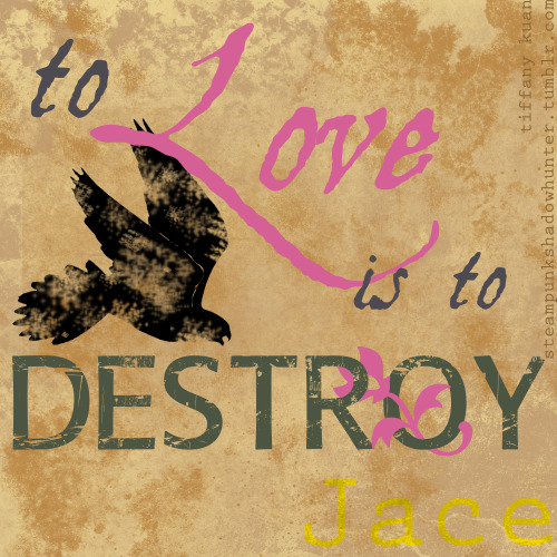 """…To love is to destroy…"" -Jace This is what I did instead of studying for my Physics test. Kind of depressing before Valentine's day…"
