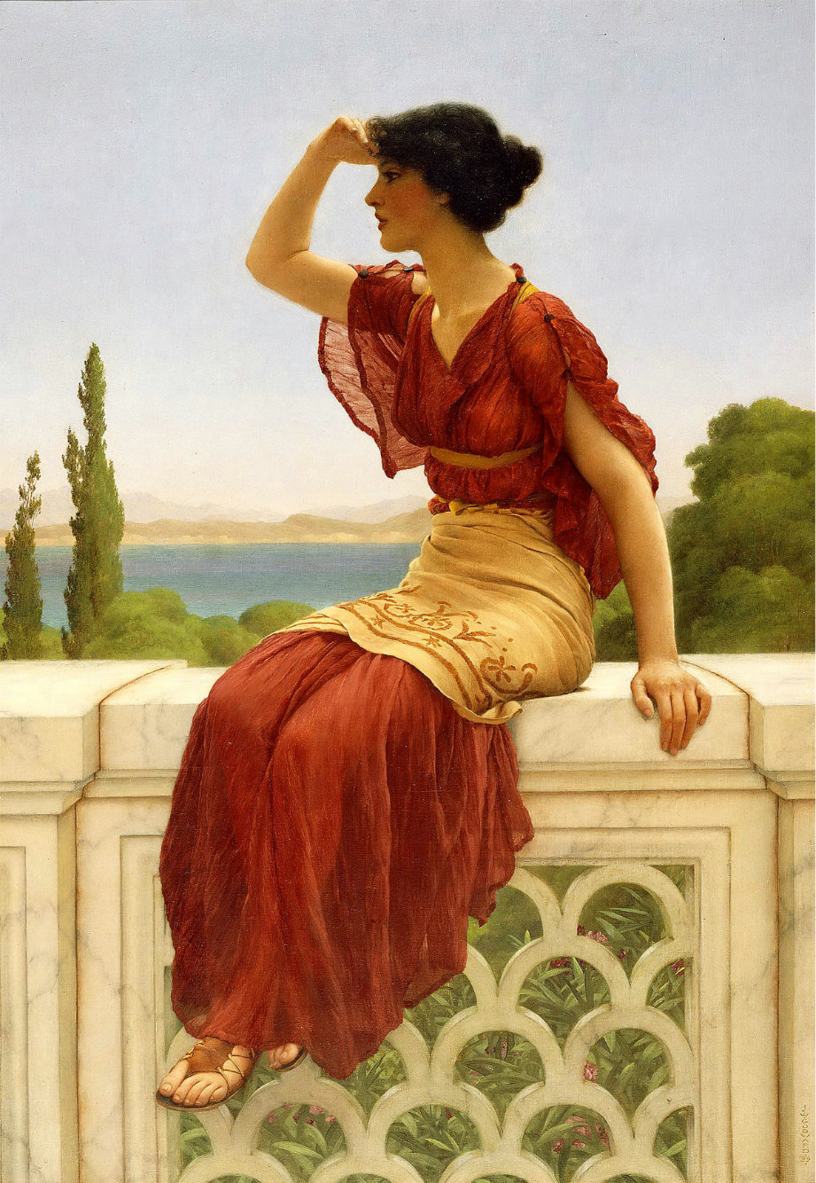 labellefilleart:  The Signal, John William Godward