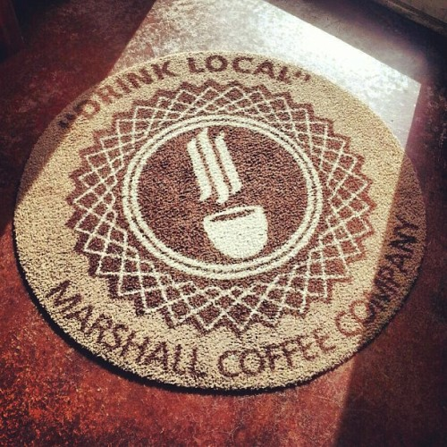 Marshall Coffee Co. logo mark I created for a client made into their welcome mat. #logo #design #product
