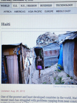 This picture is after tropical storm Isaac in Haiti,which left left the street even more flooded. That storm happened 2years after the massive earthquake that killed as many as 316,000. The similarities between that and hurricane sandy are that it left many street and homes flooded; people lost loved ones. Differences are that because we live in NY we were better equipped with dealing with a storm than was Haiti, to then it was like unexpected.  ~Claudia