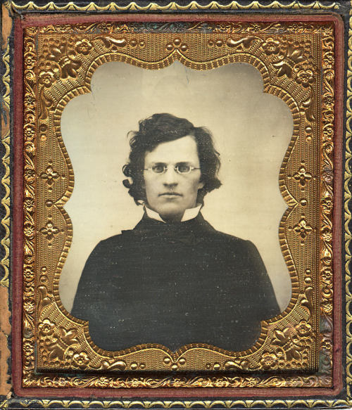 "ca. 1859, [daguerreotype portrait of a bespectacled gentleman, handwritten on verso: ""Present from dear George""] via the Metropolitan Museum of Art, Photography Collection"