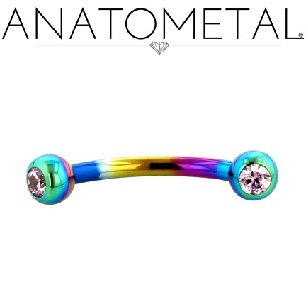 "3/8"", 16ga Eyebrow Curve in ASTM F-136 titanium, anodized rainbow; Pink CZ gemstones"