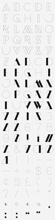 weandthecolor:  New Modern Font A modern and experimental typeface designed by London-based design duo Sawdust. When you buy the New Modern font on HypeForType you will also get illustrator files containing each character. The New Modern Typeface by Sawdust is available exclusively at HypeForType. More of the font on WE AND THE COLORFacebook // Twitter // Google+ // Pinterest