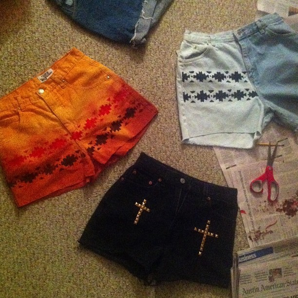 raybabyray:  Still not done. But these highwaisted shorts I created will be available for purchase tomorrow at www.shopcustomthrift.com I'm loving this custom Aztec stencil I made! #customthrift #diy #vintage #revamp #paint #dye #studs #aztec #handmade