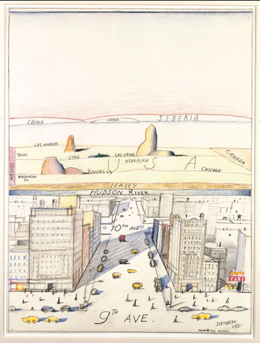 kvetchlandia:  Saul Steinberg     View of the World From 9th Avenue      1976 This is SOOO freakin' good.  The world from a New Yorker's perspective.
