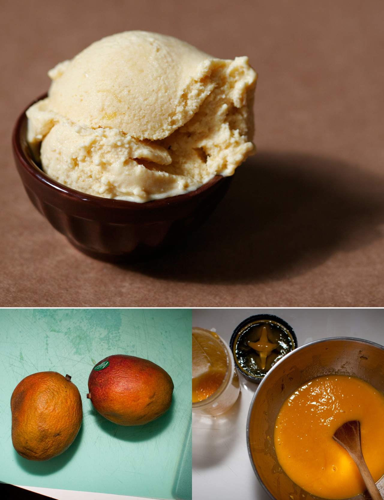 flavor of the day: Mangomango ice cream Okay here we go with our first Tropics in February flavor. Straight up Mango Ice Cream. Not sorbet. Not sherbet. Ice cream. One spoonful and we're back in Fiji, picking mangos from trees and eating them with bare hands. Our mango 'scream is super creamy and delicious and we really want to release a variation of this as a flavor of the month. So the hunt for a fair trade, sustainable, someone-we-can-be proud-to-work-with mango supplier has begun. Tips are welcome.
