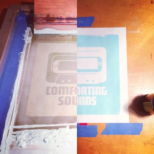 "First color of new ""Comforting Sounds"" prints down. #screenprinting #artlantis"