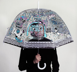 wrapmagazine:  This illustrated umbrella was drawn by two of our favourite artists from the US - Rob Corradetti and Kim Sielbeck