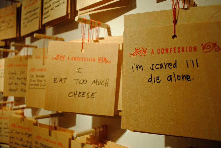 Confessions is a public art project that invites people to anonymously share their confessions and see the confessions of the people around them in the heart of the Las Vegas strip.