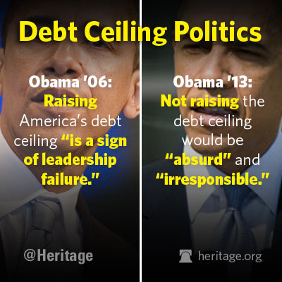 theheritagefoundation:  It's a little too politically convenient. 2partynaked:  theheritagefoundation:  Debt Ceiling Politics.  Do as I say not as I do!?!??!!!   Oh Barry O if you only knew what you were actually doing