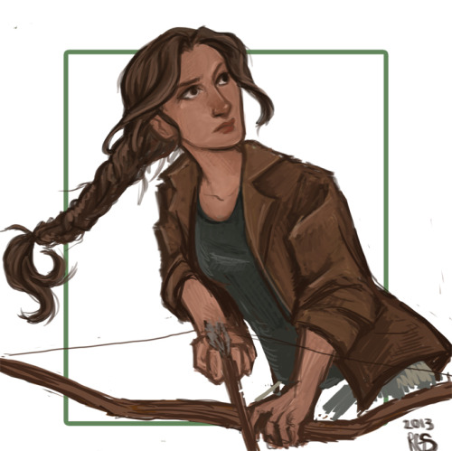 Just a sketch of Katniss Everdeen hunting in the woods at the beginning of The Hunger Games, you know before shit hits the fan for her.